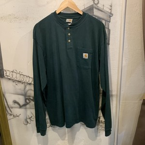 carhartt henry neck pocket long sleeve T-shirt