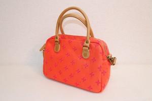 2wayハンドバッグ 刺繍帆布 オレンジ