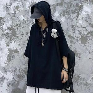 【トップス】暗黒系ストリート無地半袖フード付きファッションパーカー42115869