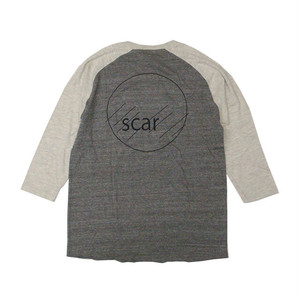 scar /////// CIRCLE RAGLAN 3/4SLEEVE TEE (Heather Black/Oatmeal)