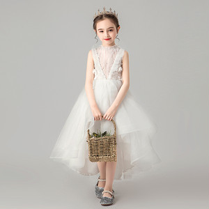 8400子供ドレス キッズドレス フォーマルドレス ジュニア 女の子ドレス  発表会 コンクール ピアノ 演出服 フィッシュテール ミディアム 白色ホワイト90-160cm