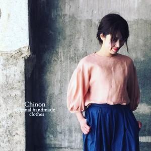 Chinon original handmade clothes リネンバルーン袖ブラウス
