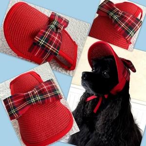 アーガイルチェックリボンの赤い麦わら帽子