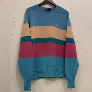 """Ralph Lauren"" Border Pattern Cotton Sweater"