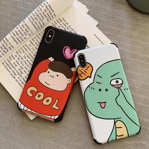 【ファッション小物】カートゥーン恐竜プリントIphoneX/XsMax/XRキュート少年Iphone6s/7/8plusヌバックスマホケース