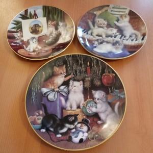 ☆人気☆ 3枚セット KAHLA 高級陶器 ヴィンテージ 猫皿 絵皿