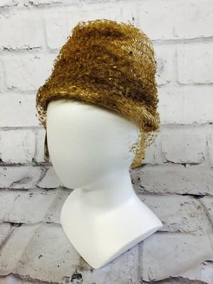 品番1256 帽子 ハニーカラー ベージュ系 ストローヴェール ヘッドドレス レディース ヴィンテージ