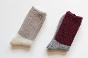 サルビアざっくり編み靴下「ツイストウール」
