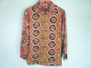 USビンテージ サイケデリック 柄物 ポリシャツ ハーフジップ プルオーバー / 60s OLD ヒッピー ボヘミアン