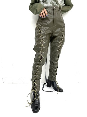 PU leather lace up pants / 3SSPT07-12