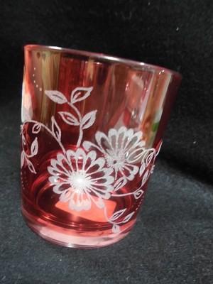 タンブラーグラス 色つき グラスリッツェン フラワー赤