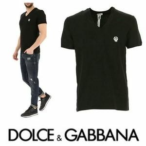 ドルチェアンドガッバーナ DOLCE & GABBANA Fall - Winter 2018/19 Vネック ロゴ Tシャツ