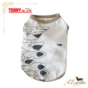 3。TENNY 犬 服 L Tシャツ 袖なし サメ柄 涼しい 日本製 夏