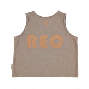 "【piupiuchick】RSleeveless t'shirt . cotton jersey taupe w/ peach ""rec"" print (SS21.FLP2117)"