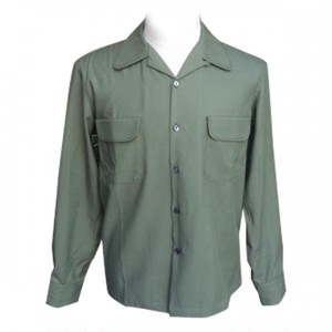 "Addiction KUSTOM THE LIFE OPEN COLLAR SHIRTS ""OPEN GABARDINE L/S SHIRT"" GREEN アディクション ハンドステッチ オープンカラー シャツ"