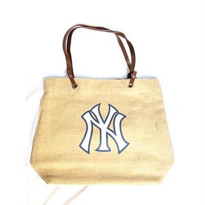 MLB ニューヨーク NY ヤンキース YANKEES バーラップ 黄麻布 トートバッグ バッグ 正規品 1693