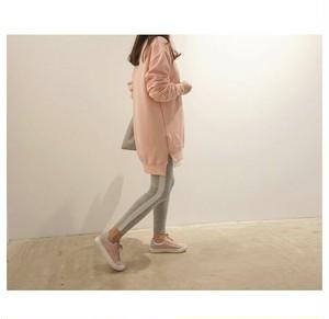 2675. ジッパー付きスリット入り丸襟ロングTシャツ ピンク