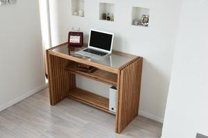 Villa Glass Desk BR / 西海岸リゾートスタイル ヴィラ ガラスデスク / ブラウン