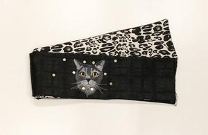 オーダー商品【半幅帯】七変化黒猫刺繍リバーシブル半幅帯