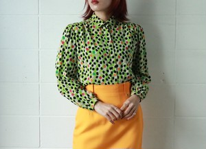 Christian Dior dots print silk blouse