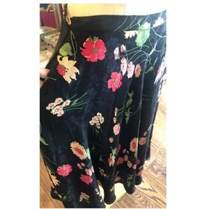 フレアスカート 花柄 シルク ジャガード 花柄 ヴィンテージ