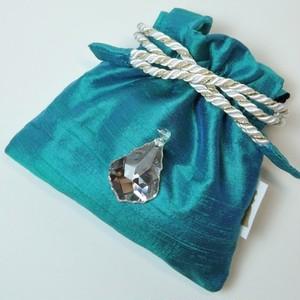 巾着 M  角  turquoise