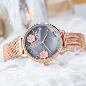 スウィート フラワー メタルベルト 合わせやすい カジュアル レディース 腕時計 <ins-2042>