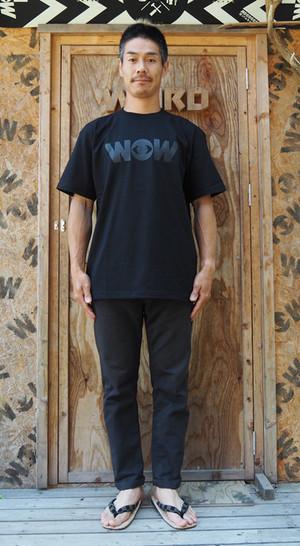 WOWベーシックロゴ Tシャツ 黒x黒プリント(送料込み)