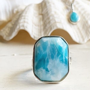 Larimar octagon ring