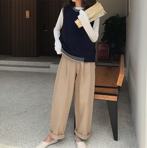 無地 シンプル カジュアル パンツ【16433】