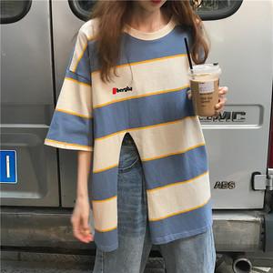 【トップス】ins人気夏新作韓国風ゆったりロングレトロTシャツ