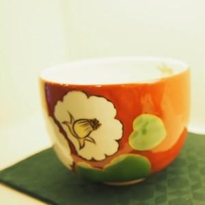 京焼 抹茶茶碗 椿 赤