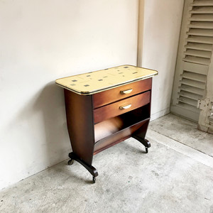 Caster Side Table with Magazine Rack 1950's ドイツ
