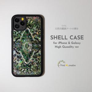 天然貝ハイクオリティiPhone/Galaxyシェルケース★天然貝×フレキシガラス(エイシェントイスタンブール・アース)螺鈿アート iPhone11pro iPhoneSE 第二世代 GalaxyS20