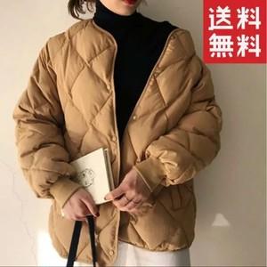 キルティングジャケット レディース ノーカラー 中綿 ブルゾン 軽量 カジュアル 冬 アウター