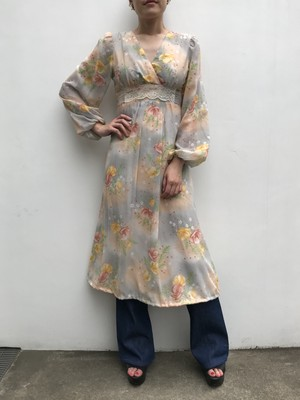 70s gray × yellow floral dress ( ヴィンテージ グレー × イエロー 花柄 ワンピース )