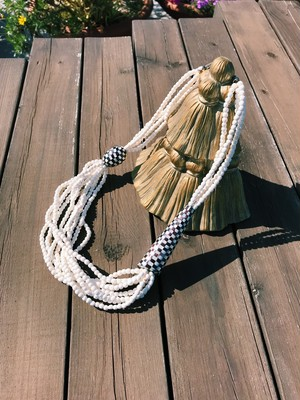 80s white × black beads Necklace ( ヴィンテージ ホワイト × ブラック ネックレス