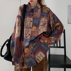 【トップス】レトロリラックスプリント韓国系シンプル海外トレンドシャツ27039005