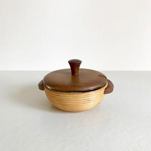 Teak Lid & Inner Glass Bowl Sugar Canister 70's オランダ