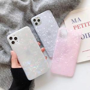 【お取り寄せ商品、送料無料】3カラー シェル キラキラ 光沢 ソフト iPhoneケース iPhone11