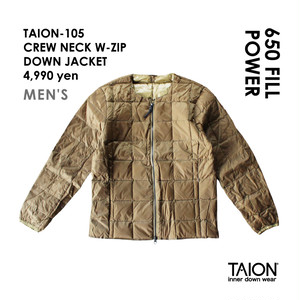 [ 今なら送料無料!! ]【メンズ】TAION-105 CREW NECK W-ZIP DOWN JACKET < ベージュ >
