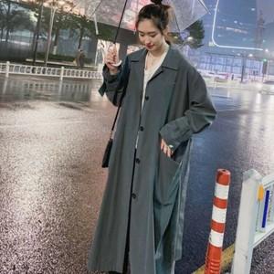 P3371 レディース アウター ジャケット ウインドブレーカー コート ロングコート ロング丈 韓国 韓国ファッション 無地 シンプル 春 秋 新作