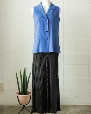 B&W striped rayon skirt