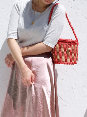 color stripe basket bag