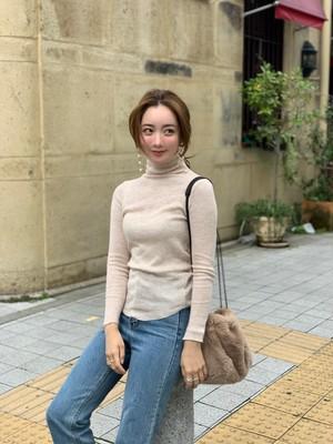 【予約】turtle neck knit / pink beige  (ご注文から約3週間での配送)