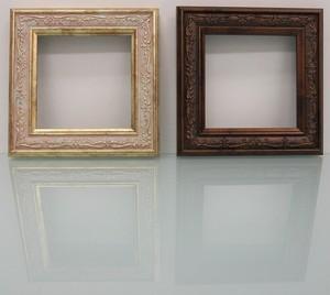 樹脂アンティークおしゃれ樹脂フレームアイボリー&ブラウンD-8222額縁サイズ100mm×100mm窓枠サイズ86mm×86mm 2mmアクリル裏板付 壁掛け用/箱なし