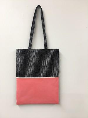 【予約商品 9/28- 10/8 】sashiko tote bag / neon orange × navy