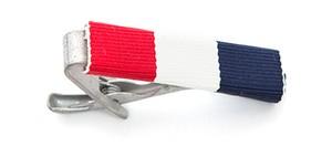 ミリタリーリボン ネクタイピン クラブ ストライプ Club Stripe Ribbon Tie Bar