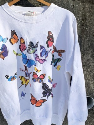 Vintage Multicolor Butterflies Printed Sweat Shirts Made In Canada