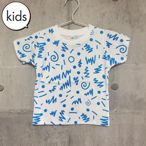 【送料無料】 80s Blue Kids T-shirts S 80s 総柄 青 キッズ Tシャツ S